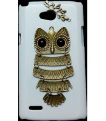 cute retro bronze metal owl branch hard back skin case cover for lg optimus l80