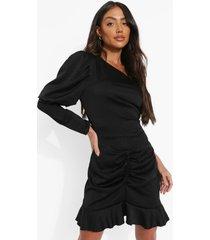 mini jurk met eén blote schouder en geplooide zoom, black