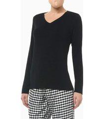 pijama m/l e calça de viscose xadrez fem - preto - l