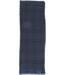 valentino plaid silk wool scarf blue/red sz: