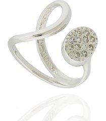 anel dona diva semi joias curva oval ouro branco