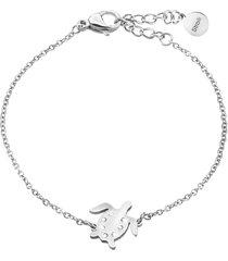 bracciale tartaruga in acciaio rodiato e cristalli per donna