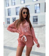 komplet szorty-bluza pink miś besquar