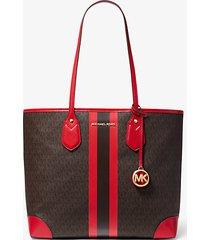 mk borsa tote eva grande con logo e strisce - marrone/rosso brillante (rosso) - michael kors