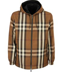 burberry reversible check technical cotton hooded jacket