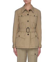 belted patch pocket canvas military jacket