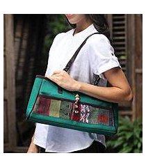 leather trimmed cotton shoulder bag, 'green thai tea' (thailand)