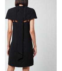 victoria, victoria beckham women's cape detail soft crepe dress - black - uk 6
