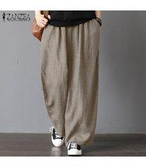 zanzea para mujer de gran tamaño harem ancho piernas pantalones casuales pantalones de cintura elástica -beige