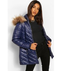 glanzende lange gewatteerde jas met faux fur zoom, navy