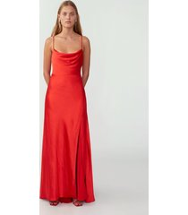 sunset orange strappy draped gown