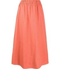 ba & sh piel a-line cotton skirt - orange