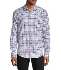 saks fifth avenue men's cotton flannel sport shirt - white checks - size m