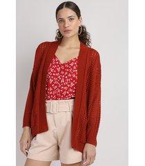 capa de tricô feminina com bolsos cobre