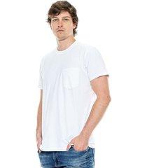 camiseta cuello redondo unicolor con bolsillo color blue