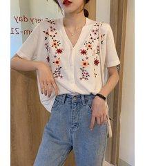 camicetta a maniche corte in maglia con scollo a v stile coreano con ricamo floreale per donna