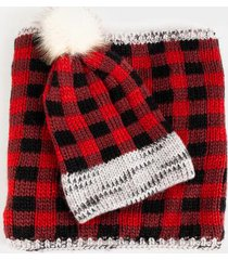urika buffalo scarf & beanie set - red