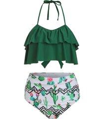 cactus print flounce ruched halter bikini swimsuit