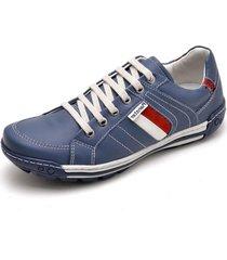 sapatênis casual linha conforto cano curto couro ranser azul