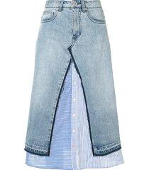 bapy by *a bathing ape® a-line layered denim skirt - blue