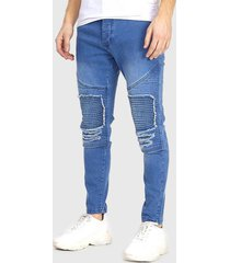 jeans brave soul long lenght azul - calce skinny