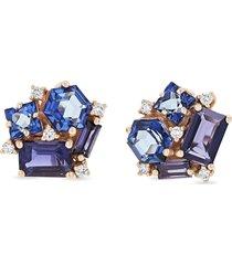 'blossom' diamond topaz iolite 14k rose gold earrings