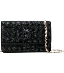 versace crystal-embellished medusa palazzo shoulder bag - black
