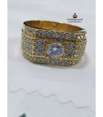 anillo con circones suizos en oro 18k / 750 italiano