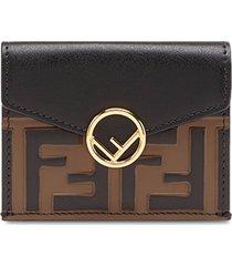fendi ff micro trifold wallet - brown