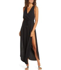 women's l space kenzie cover-up midi dress, size large - black