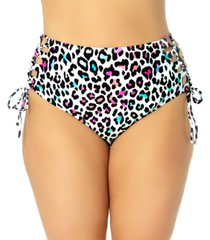 california waves trendy plus size side-tie leopard-print bikini bottoms, created for macy's women's swimsuit