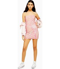 pink diamond sequin mini dress - pink