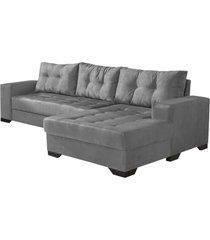 sofá c/chaise 2 lugares império estofados bia suede cinza