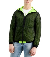 ax armani exchange men's acid lime reversible hooded jacket