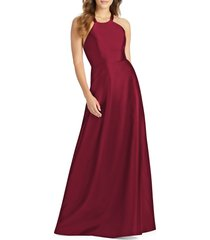 women's alfred sung lace-up back satin twill a-line gown, size 10 - burgundy
