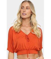 blusa top cropped mercatto básica feminina