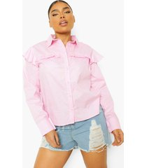 plus blouse met ruches, light pink
