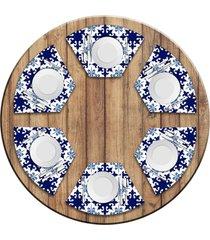 jogo americano love decor para mesa redonda wevans ladrilhos azuis kit com 6 pçs