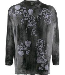 avant toi floral-embroidered tie-dye jumper - black