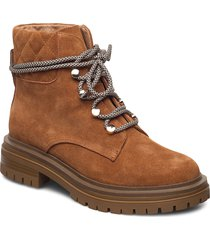 stb-franka lace s shoes boots ankle boots ankle boot - flat brun shoe the bear
