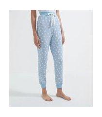 calça de pijama em viscolycra com estampa de corações | lov | azul | g
