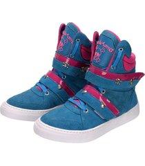 tênis sneaker cheia de marra azul bebê - tricae