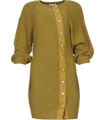gebreide jurk met knoopdetails ivy  groen
