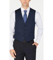 calvin klein men's slim-fit stretch blue/charcoal birdseye suit vest