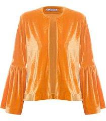 casaqueto veludo isabella fiorentino para oqvestir - amarelo