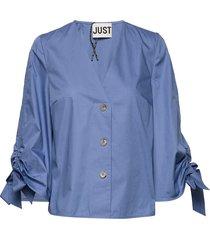 majken blouse blouse lange mouwen blauw just female