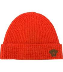 versace medusa head ribbed-knit beanie - orange