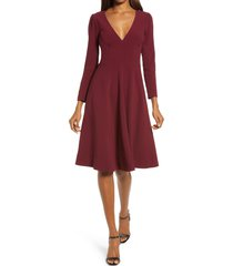 women's dress the population catrine fit & flare stretch crepe midi dress, size large - burgundy