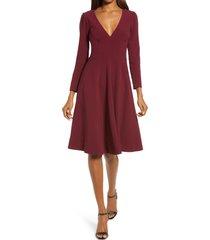 women's dress the population catrine fit & flare stretch crepe midi dress, size medium - burgundy