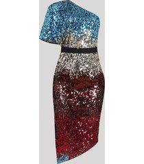 vestido feminino mindset midi assimétrico um ombro só em paetês manga curta multicor